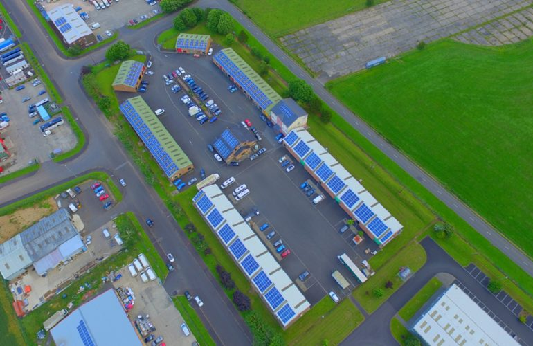 Aerial display of TCR Solar PV Systems on roof of Roe Valley Enterprise Park